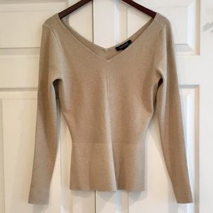 WHBM Fitted Ribbed Shimmer Sweater M